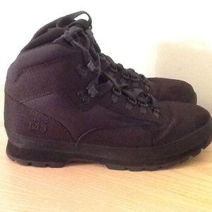 Timberland Euro Hiker Black Canvas Boots Mens 10